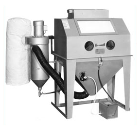 MM4224S Suction Blasting Cabinet shown with optional Abrasive Separator and Filter Bag