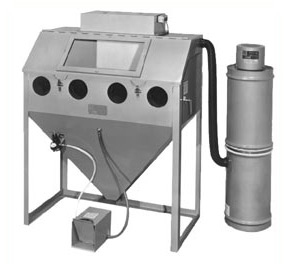 MM4824C Suction Blasting Cabinet shown with BP Dust Collector