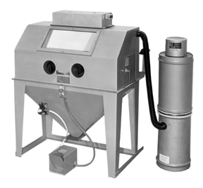 MM4824S Suction Blasting Cabinet shown with BP Dust Collector