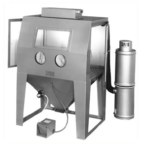 MM4836C Suction Blasting Cabinet shown with BP Dust Collector