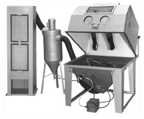 MM4848S Suction Dry Blasting Cabinet shown with 600 CFM Abrasive Separator and Enclosed Dust Collector (Deluxe Package)