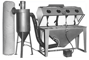 MM6024S Suction Dry Blasting Cabinet shown with Abrasive Separator and Filter Bag