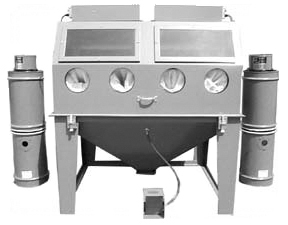 6048S Suction Dry Blasting Cabinet shown with dual BP Dust Collectors