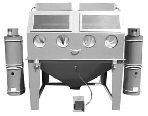 MM7248S Suction Dry Blasting Cabinet shown with dual BP Dust Collectors