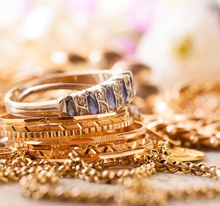 Polished Gold Jewelry with Diamonds