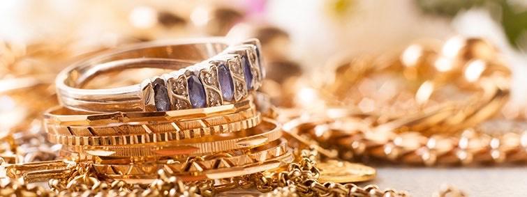 Polished Gold Jewelry with Diamonds
